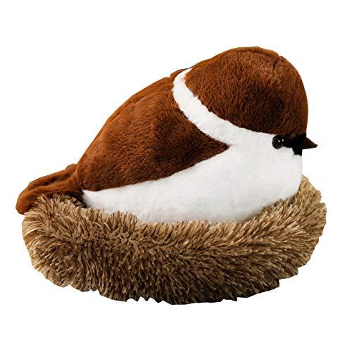 (Adroable Stuffed Bird Animal Sparrow Plush Toys with Fluffy Nest)