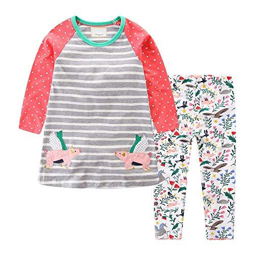 Toddler Baby Girls Clothing Set Cute Print Long Sleeve T Shirt Pants 2pcs Outfits]()