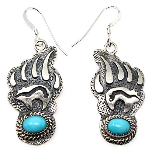 Navajo Silver Overlay Bear Paw Earrings With Turquoise | 1 1/8