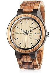 Mens Wooden Watch Analog Quartz Zebra Sandalwood Handmade Lightweight Vintage Casual Bamboo Wrist Watch
