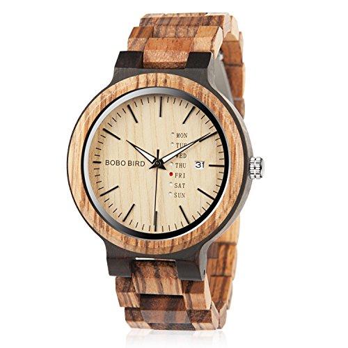 Mens Wooden Watches Handmade Analog Zebra Quartz Watch Lightweight Casual Bamboo Wrist Watches (Zebra Watch)
