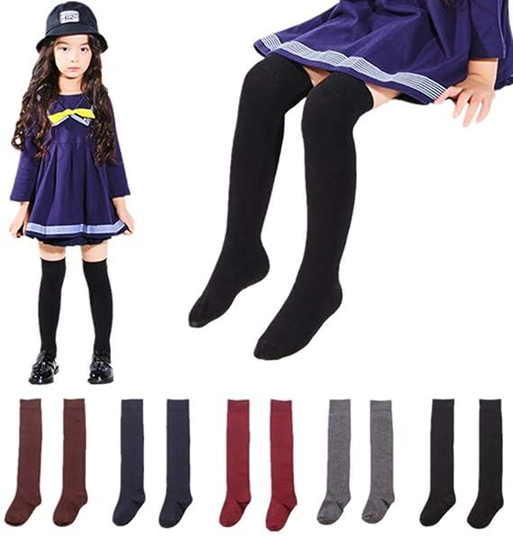 5 Pairs Little Girl Knee High Long Socks Cute Tube Stockings for Toddlers  Kids Girls 3