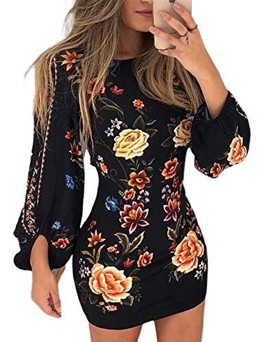 CHICME Women Fashion Cutout Back Bishop Sleeve Floral Dress L Black