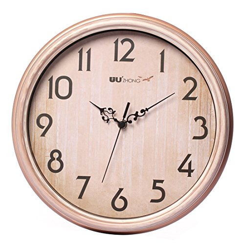 Maywhen Indoor 12 Inch Decorative Non-Ticking Silent Wall Clock Champagne Gold Modern Analog Quiet Wall Clock