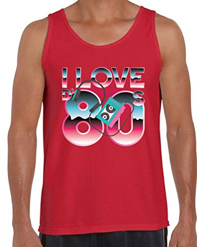 Awkward Styles 80s Workout Tanks 80s Clothes for Men 80s Party Theme Tank Tops Red M