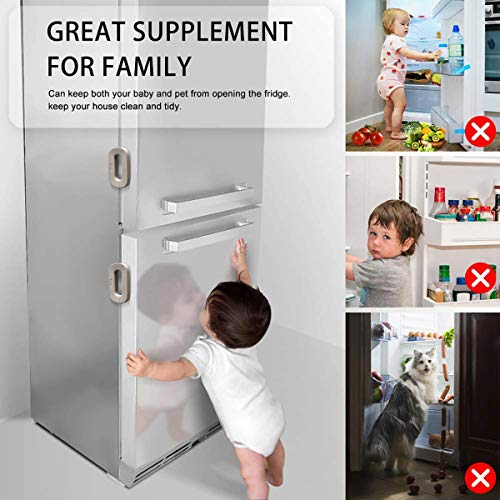 51RUw20og1L HEOATH Upgrade Home Refrigerator Fridge Freezer Door Lock Latch Catch Toddler Kids Child Baby Safety Lock Easy to Install and Use 3M VHB Adhesive no Tools Need or Drill (Grey,2 Pack)    Product Description