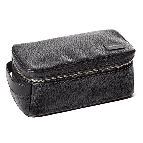 Jack Spade Pebble Leather Travel Kit Toiletry Bag - Black by Jack Spade