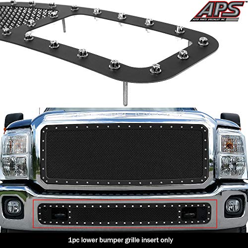 APS Compatible with 2011-2016 Ford F-250 F-350 F-450 W Tow Hook Show Bumper Mesh Rivet Stud Mesh Grille -
