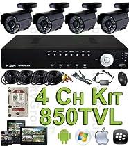 USG 850TVL 4 Channel CCTV Kit: 1x 4Ch DVR + 4x Bullet Cameras + 1x 1TB HDD + 4x 65