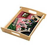 Home of Wheaten Terriers 4 Dogs Playing Poker Wood Serving Tray with Handles Natural