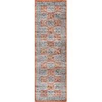 Well Woven Giovane Red Modern Panel 2x7 (23 x 73 Runner) Area Rug Red Grey Vintage Floral Mediterranean Tile Carpet
