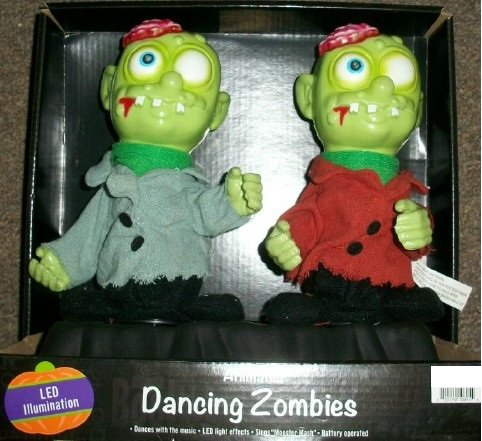 10 Inch Animated LED Light Up Dancing Zombies Halloween Decor - Plays