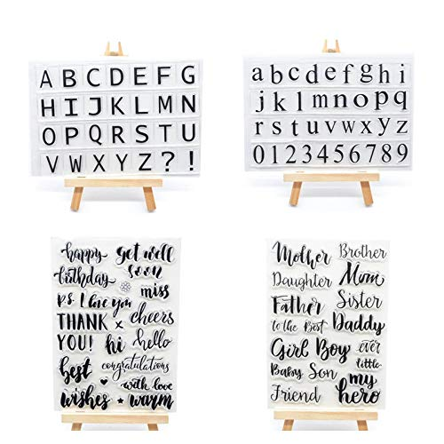 Welcome to Joyful Home 4pcs/Set Alphabet Letters Family Sentiment Rubber Clear Stamp for Card Making Decoration and Scrapbooking