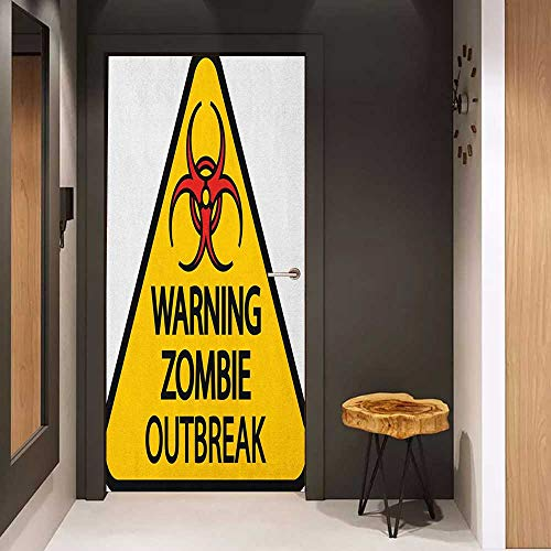 (Onefzc Automatic Door Sticker Zombie Warning The Zombie Outbreak Sign Cemetery Infection Halloween Graphic Easy-to-Clean, Durable W31 x H79 Earth Yellow Red)