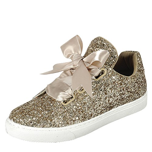 Für immer Link Damen Runde Toe Ribbon Bow Lace Up Glitter Fitness Gym Trainer Mode Turnschuhe Gold