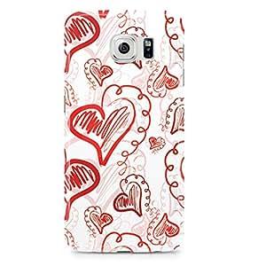 Samsung Galaxy S6 Edge Case Love Valentine Heart Pattern-Light Weight Clear Edges Wrap Around Phone Cover