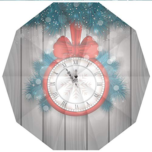 10 Ribs Travel UmbrellaUV Protection Auto Open Close Clock Decor,New Year Midnight A Clock and Fir Branch Illustration Decorations for Windproof - Waterproof - Men - Women -Lightweight- 45 -