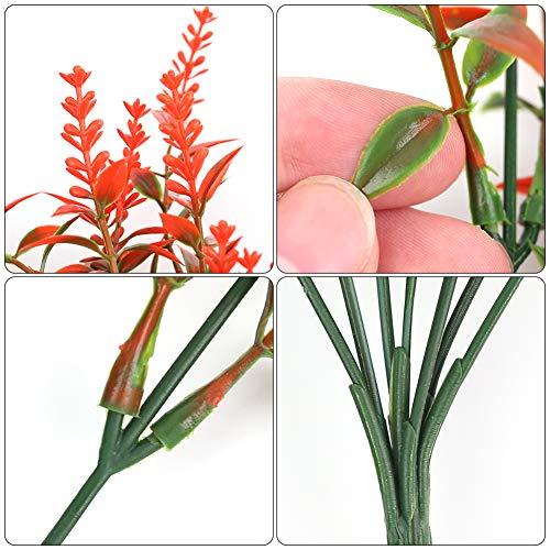 BigOtters Artificial Lavender Flowers, 8 Bundles Orange Red Fake Flowers UV Resistant No Fade Faux Plastic Bouquet Plants Fall Decor for Home Wedding Garden Porch Window Box Decor Autumn Decor