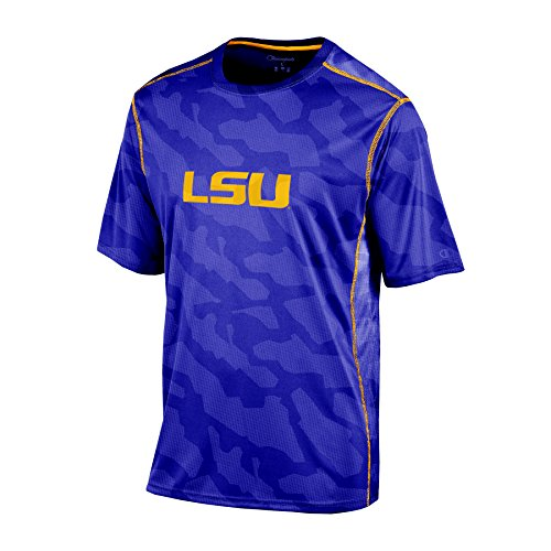 Champion NCAA LSU Tigers Boys Short Sleeve Color Blocked Crew Neck T-Shirt, X-Large, Purple