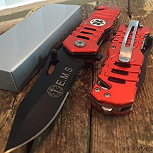 Snake Eye Tactical EMS EMT Rescue Style Spring Assisted Open Folding Pocket Knife Outdoors Hunting Camping Fishing