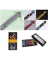 Bundle Monster Mens Fashion Business Solid, Woven, Stripes Necktie Tie Mixed Set