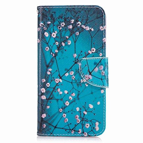 Yiizy LG G6 (H870, H870K, H870S, H870V) Funda, Plum Flower Diseño Solapa Flip Billetera Carcasa Tapa Estuches Premium PU Cuero Cover Cáscara Bumper Protector Slim Piel Shell Case Stand Ranura para Tar