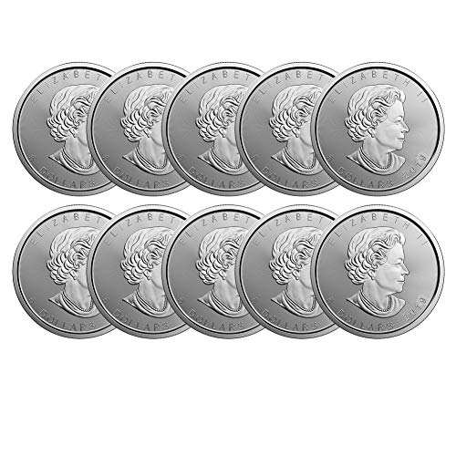 2019 Lot of (10) 1oz Silver Maple Leaf $5 Brilliant Uncirculated