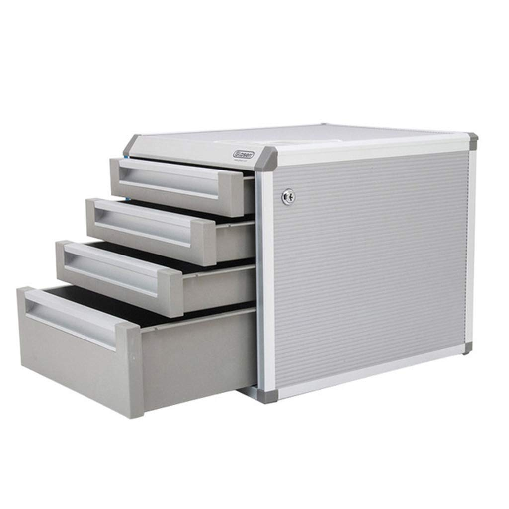 Liu Weiqin Chest of Drawers - Four-Layer Aluminum Alloy Lock Drawer/Desktop Office Filing Cabinet / 315 350 298mm by Liu Weiqin