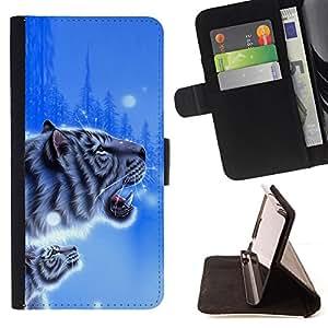 BullDog Case - FOR/Sony Xperia Z1 Compact D5503 / - / tiger blue winter poster cub snow nature /- Monedero de cuero de la PU Llevar cubierta de la caja con el ID Credit Card Slots Flip funda de cuer
