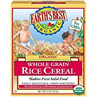 Earth's Best Organic Whole Grain Rice Cereal - Plus Spoon and Fork ( Pack of 3)