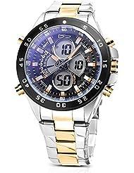 Daniel Steiger Lazer Blue Two-Tone Analog Digital Multi-Function Hybrid Watch - Day Date Month Digital Calendar...