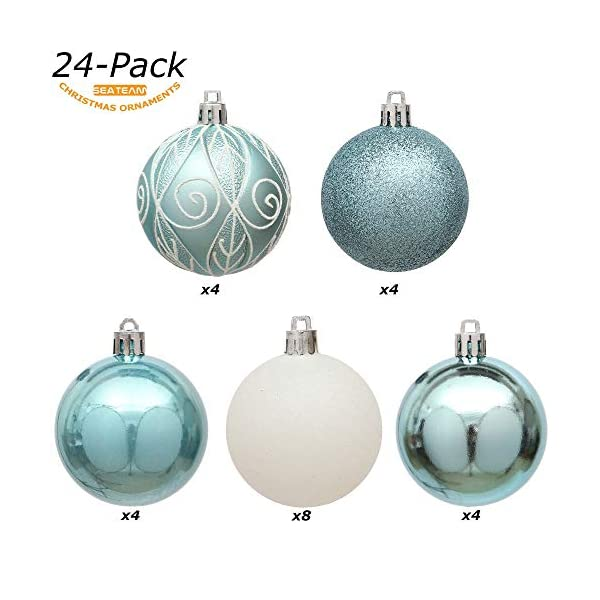 Sea Team 24-Pack Christmas Ball Ornaments with Strings, 60mm/2.36-inch Medium Size Baubles, Shatterproof Plastic Christmas Bulbs, Hanging Decorations for Xmas Tree, Holiday, Wedding, Party, Babyblue 4 spesavip