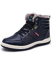 Quickshark Men Snow Boots Waterproof Winter Boots High Top Sneaker Outdoor Non-Slip Snow Shoes Fur Lining