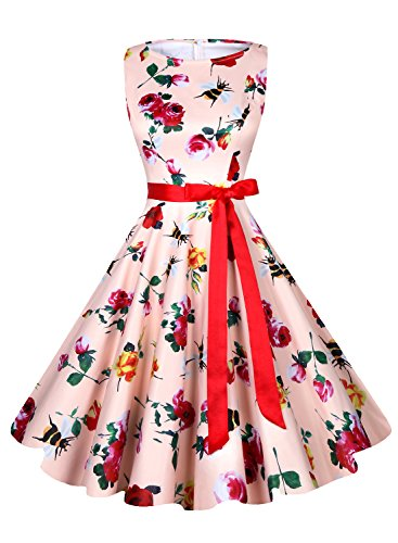 Anni Coco Women's 1950s Hepburn Vintage Swing Dresses With Ribbon Belt Flower and Bee Small