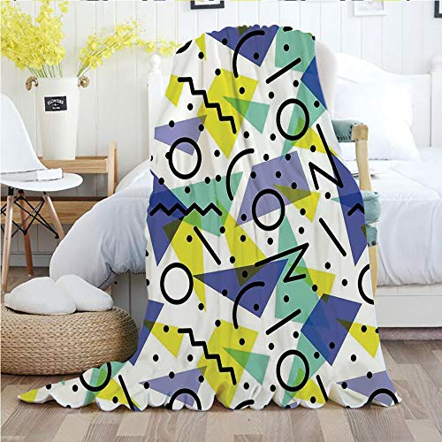 Modern Decor,Throw Blankets,Flannel Plush Velvety Super Soft Cozy Warm with/Geometric Retro 80s Themed Image with Lines Circles and Spots Print/Printed Pattern(50