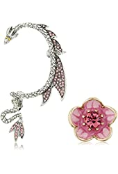 """Betsey Johnson """"Memoirs of Betsey"""" Flower Stud and Dragon Ear Cuffs"""