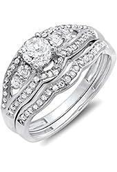 0.90 Carat (ctw) 14k White Gold Round Diamond Ladies Bridal Engagement Ring Set Matching Band