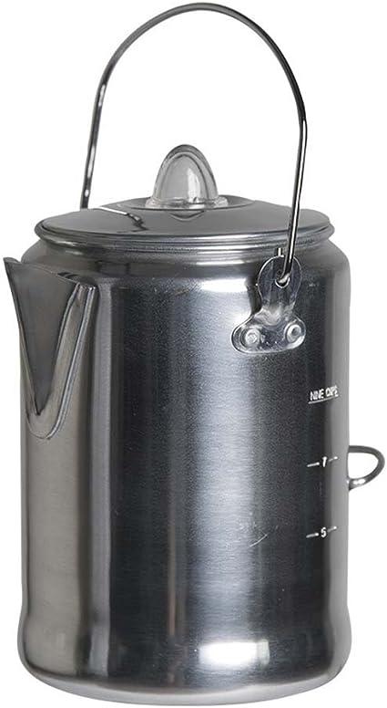 Mil-Tec Cafetera de aluminio con percolador (9 tazas)