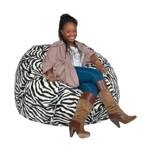Cozy Sack 3-Feet Bean Bag Chair, Medium, Zebra Print - Chair Zebra Print