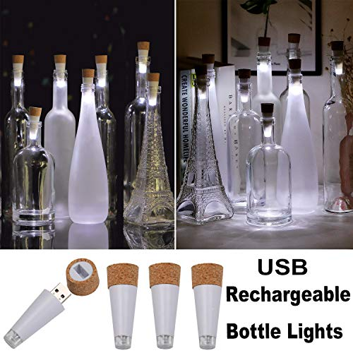KZOBYD 4 Pack Rechargeable Bottle Lights Mini Cork Shaped Craft Lights USB Powered Fairy Cork Lights for Wine Bottles Party Décor Christmas Halloween Wedding (White USB)