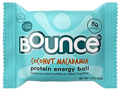 Bounce Coconut Macadamia Protein Energy Ball - Whey Protein, Gluten Free, Non-GMO, Vegetarian, On The Go Snack - 1.41 Ounce, 12 count from Bounce USA LLC