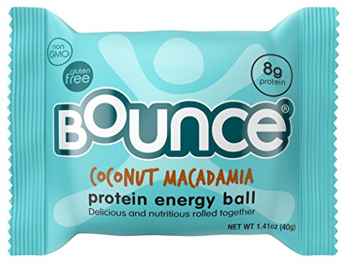 Bounce Coconut Macadamia Protein Energy Ball  - Whey Protein, Gluten Free, Non-GMO, Vegetarian, All Natural Snack - 1.41 Ounce, 12 count