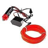 5M Neon LED Light Glow EL Wire String Strip Rope Tube + 12V Power Inverter Kit - Red