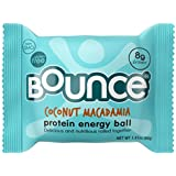 Bounce Coconut Macadamia Protein Energy Ball - Whey Protein, Gluten Free, Non-GMO, Vegetarian, On The Go Snack - 1.41 Ounce, 12 count