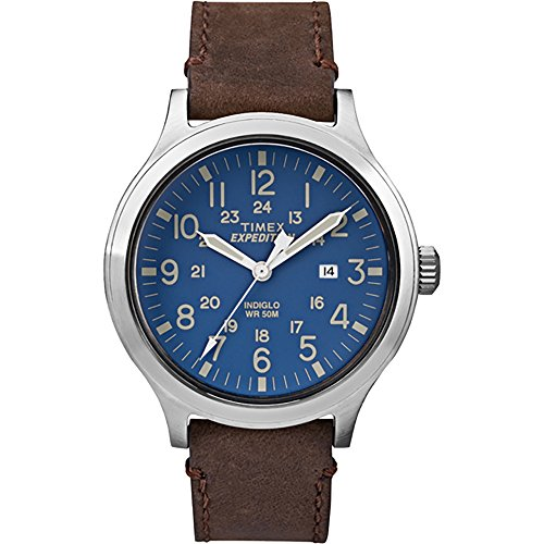 Timex Expedition Scout TW4B06400 Blue/Brown Leather Analog Quartz Men's Watch (Watch Expedition Quartz)