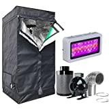 Hongruilite 300w/600w LED Grow Light+Multi-sized Grow Tent+4'' Inline Fan Carbon Air Filter Ducting Combo for Hydroponic Indoor Plant Growing System (300W LED+24''X24''X48''Grow Tent(T)+4''Filter Kit)