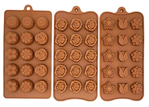 Poproo Flower 3-Piece Gummy Candy Molds Set, Silicone Chocolate Molds Ice Cube Molds, Tulip Rose Sunflower Lotus -