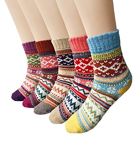Winter Socks 5 Pairs, Vintage Style Chunky Knit Wool Cashmere, Thick Warm Soft Solid Casual Sports Socks (Mix of bright prints)