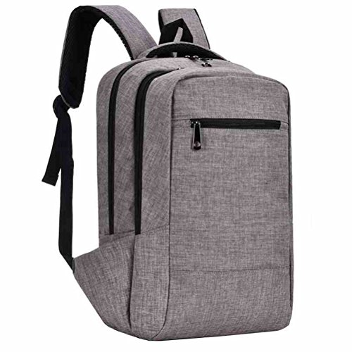 Lightweight Stylish Travel Backpack for Tablet Laptop up to 15.6 Inch, Feskin Slim Classic Casual Student Backpack Simple Business Bags for Women Men - Grey (Nylon Backpack Slim)