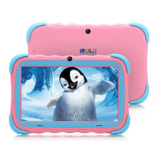 7 inch Android 7.1 Kids Tablet,IPS HD Screen,1GB/16GB, Babypad Edition PC with Wifi and Camera and Games, Google Play Store,Bluetooth Supported, Kids-Proof Case, GMS Certified,iRULU Y57 (Pink) by iRULU
